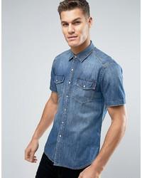 Denim pocket shirt regular fit mid wash short sleeve medium 3707447