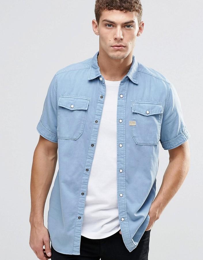 ... Light Blue Denim Short Sleeve Shirts G Star G Star Landoh Denim Shirt  Short Sleeve