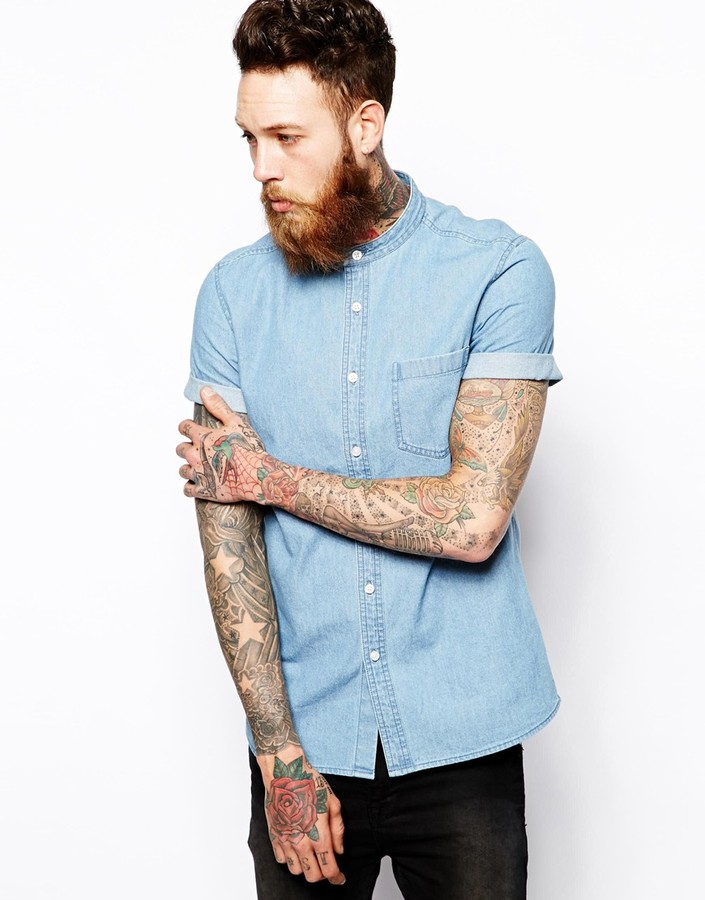 0d0015e5005 ... Shirts Asos Grandad Denim Shirt In Short Sleeve With Mid Wash ...