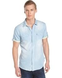 Fresh Light Blue Short Sleeve Stretch Cotton Denim Shirt