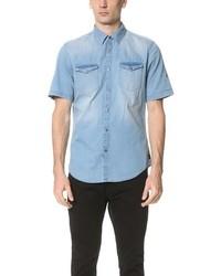 Medium wash denim short sleeve shirt medium 590983