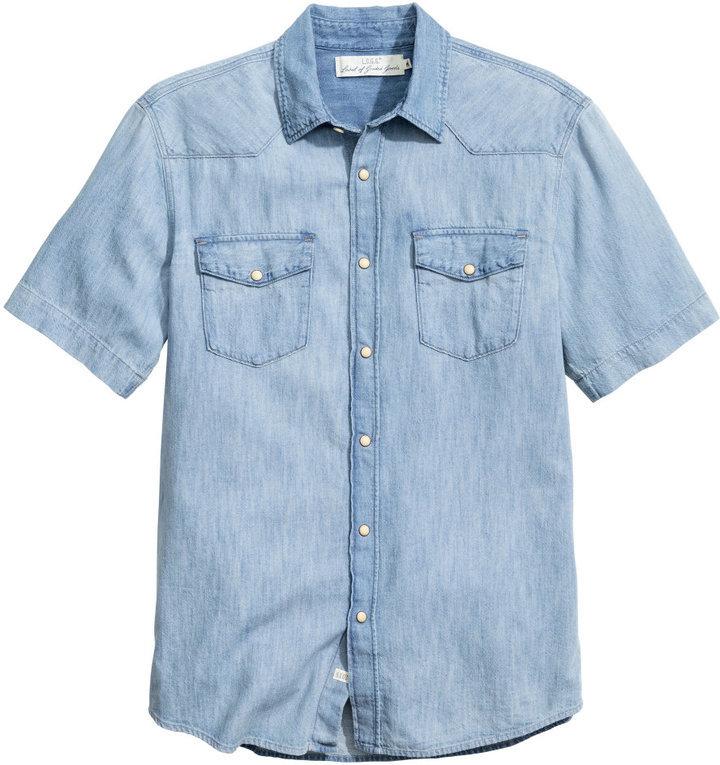 56459cae56b9 H&M Short Sleeved Denim Shirt Light Denim Blue, $29   H & M ...