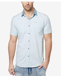 6687211913 ... Buffalo David Bitton Sijamzat Chambray Short Sleeve Shirt