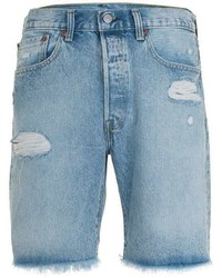 Levi's 501 Light Wash Blue Distressed Denim Shorts
