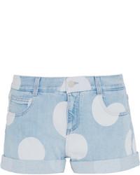 Stella McCartney Bleached Denim Shorts Light Denim