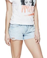 GUESS Brittney Denim Shorts In Crystal Blue Destroy Wash