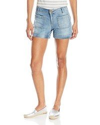 Democracy 4 Inseam 22 Leg Opening Light Wash Denim Strech Short With Patch Pockets And Side Slits