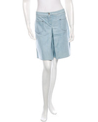 Chanel Denim Pleated Shorts