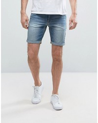 Asos Denim Shorts In Extreme Super Skinny Light Blue