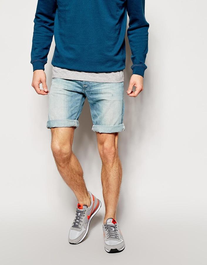 Replay Denim Shorts Straight Fit Light Sunfaded Distress Wash ...