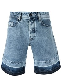 Diesel Contrast Panel Denim Shorts
