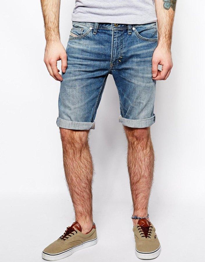 aad26d4eb0a Diesel Denim Shorts Thavar Slim Fit Blue, $189 | Asos | Lookastic.com