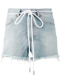 Off-White Drawstring Cut Off Denim Shorts