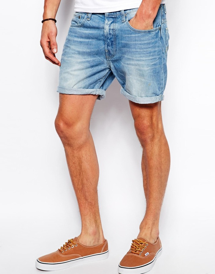 G Star Denim Shorts 3301 Straight Fit Light Aged Blue | Where to ...