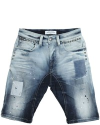John Galliano Destroyed Stretch Denim Shorts