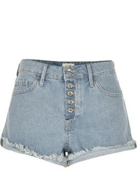 River Island Light Blue Wash Distressed Ruby Denim Shorts