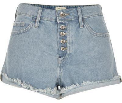 River Island Light Blue Wash Distressed Ruby Denim Shorts