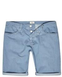 River Island Light Blue Wash Slim Fit Denim Shorts
