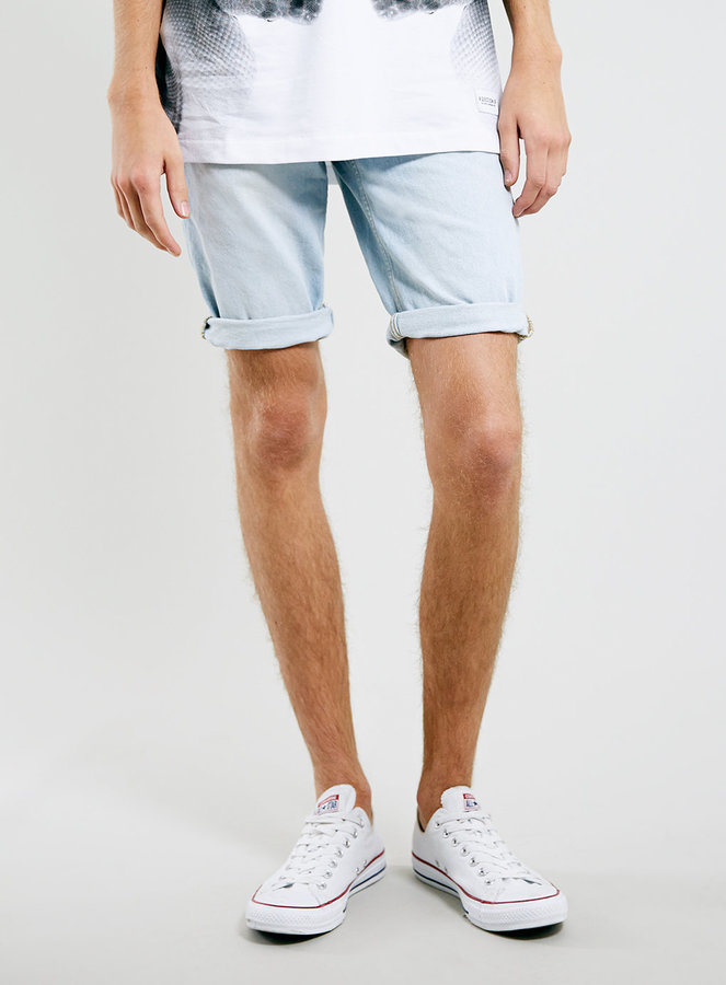 Topman Light Wash Denim Roll Up Shorts | Where to buy & how to wear