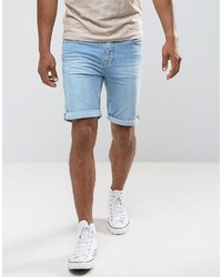 Mango Man Denim Shorts In Light Wash Blue