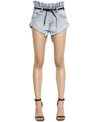 One Teaspoon Le Bandits Ruffled Cotton Denim Shorts