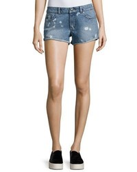 DL1961 Premium Denim Renee Bleached Spots Cutoff Denim Shorts Indigo