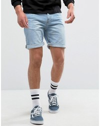 Pull&Bear Regular Fit Denim Shorts In Bleached Wash