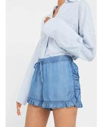 Mango Ruffled Denim Shorts