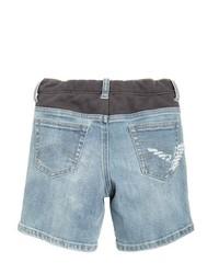 Armani Junior Washed Stretch Denim Jersey Shorts