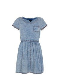 Exclusives new look blue denim cap sleeve skater dress medium 556120