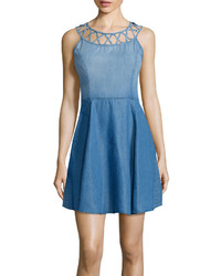 Love reigns love reigns sleeveless lattice front denim skater dress juniors medium 556121