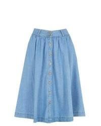 Light Blue Denim Skater Skirt
