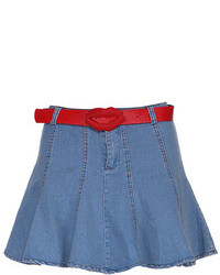 Belted blue denim skater skirt medium 103966
