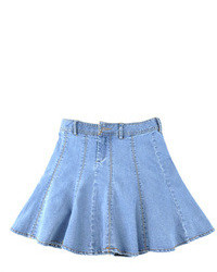Chicnova light blue denim skater skirt medium 103964