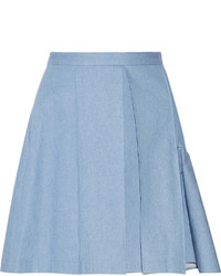 JULIEN DAVID Pleated Denim Mini Skirt