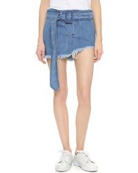 MARQUES ALMEIDA Denim Buckle Miniskirt