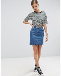 Asos Denim Original High Waisted Skirt In Midwash Blue