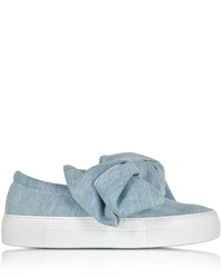 Joshua Sanders Azure Denim Bow Slip On Sneaker
