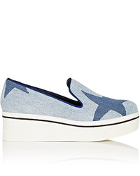 Stella McCartney Binx Denim Platform Wedge Sneakers