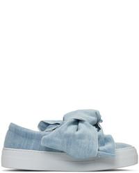 Blue denim bow double slip on sneakers medium 1151494