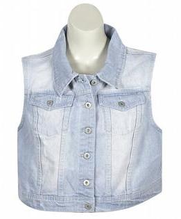 Elite Jeans Plus Size Frayed Bleach Denim Vest | Where to buy ...