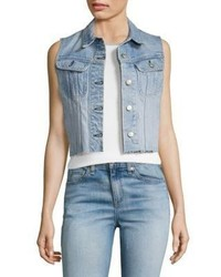 Jean lou light wash cropped denim vest medium 4397606