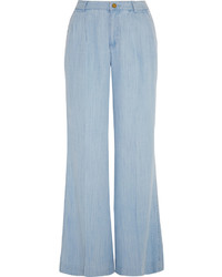 Light Blue Denim Wide Leg Pants