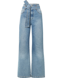 MSGM Belted High Rise Wide Leg Jeans