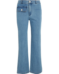 See by Chloe See By Chlo High Rise Straight Leg Jeans Mid Denim
