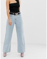 Missguided Wide Leg Jean In Navy