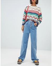 Mango Wide Leg Jeans In Mid Blue