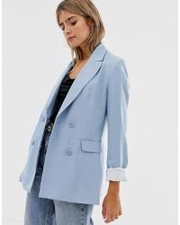 Bershka Longline Double Breasted Blazer In Blue