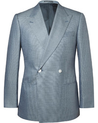 Lutwyche Blue Puppytooth Wool And Silk Blend Blazer