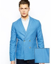 Asos Slim Fit Double Breasted Blazer In Washed Cotton Blue